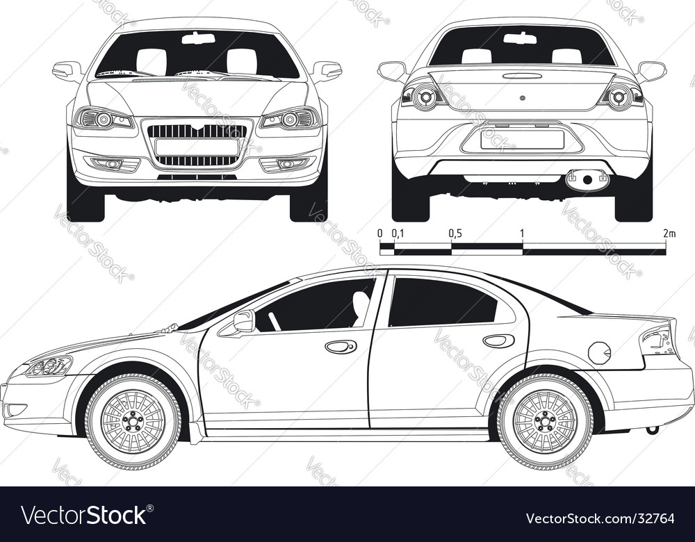Car technical draft vector image
