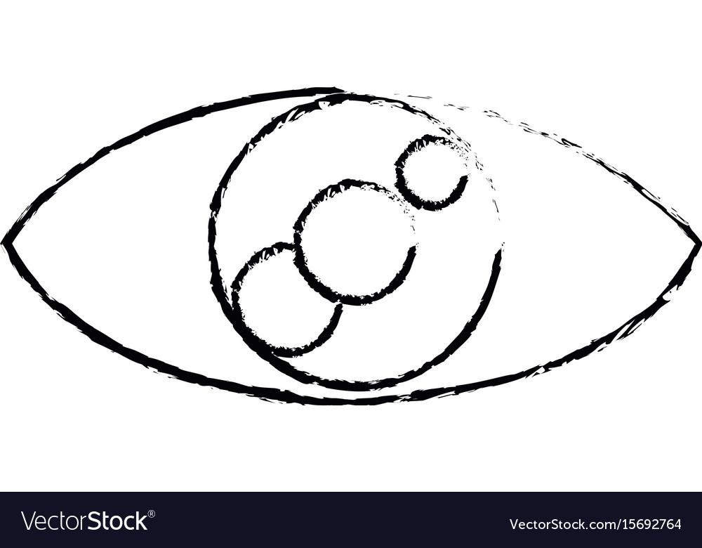 Eye look vision optic cartoon icon vector image