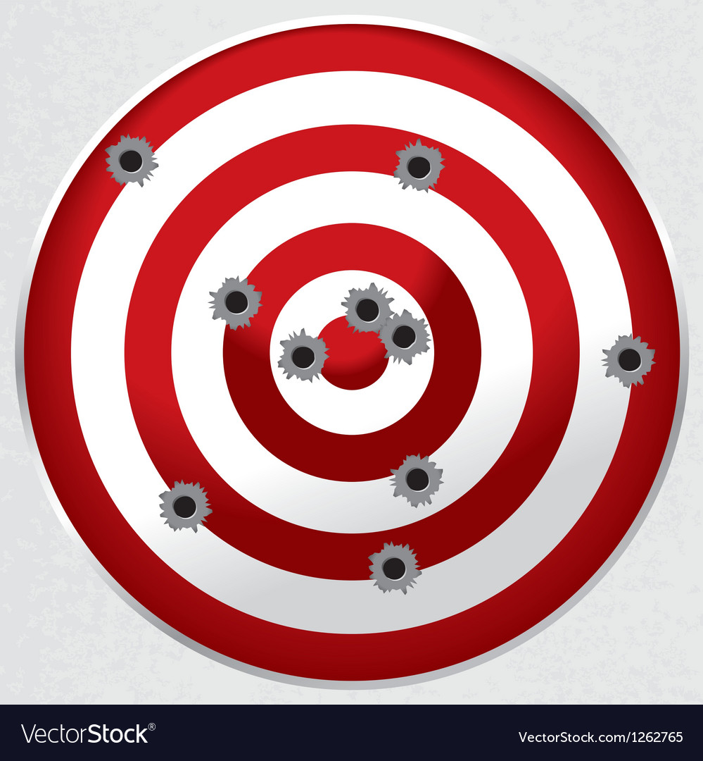 Gun Range Target with Bullet Holes vector image