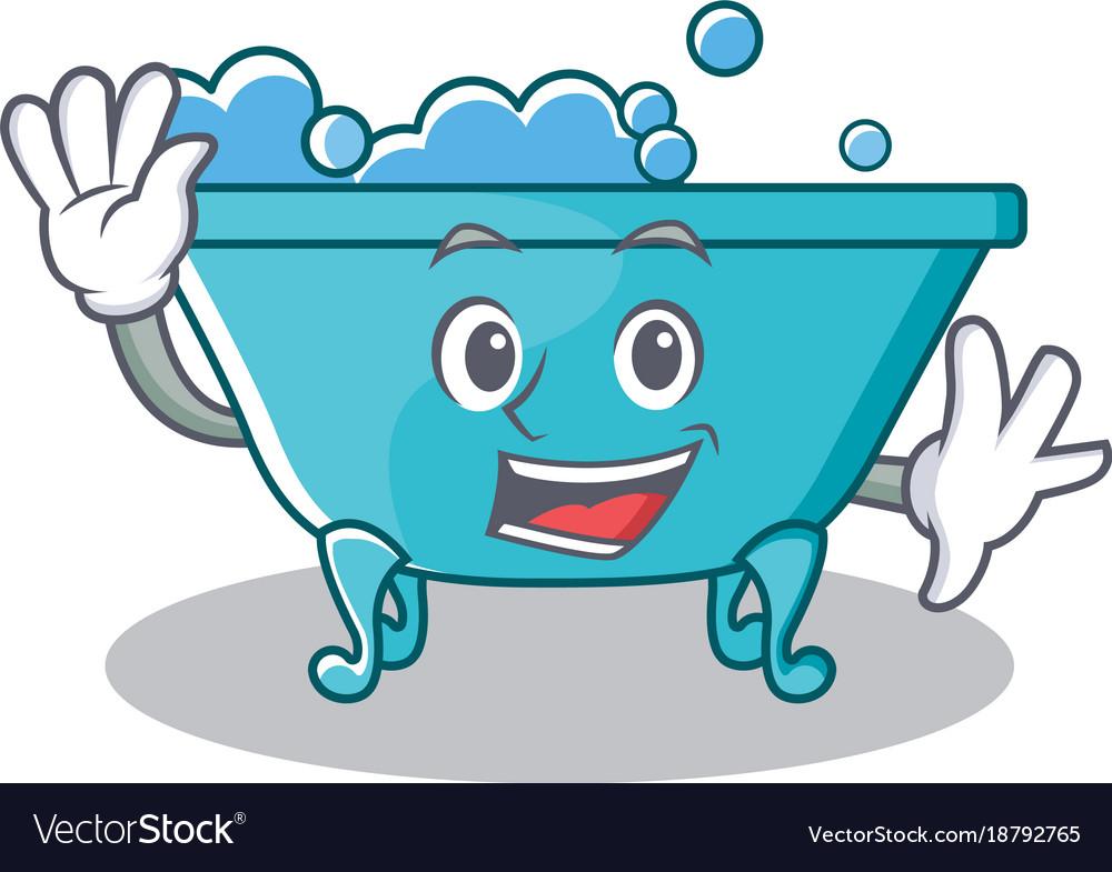 bathtub cartoon. Waving bathtub character cartoon style vector image Royalty Free Vector