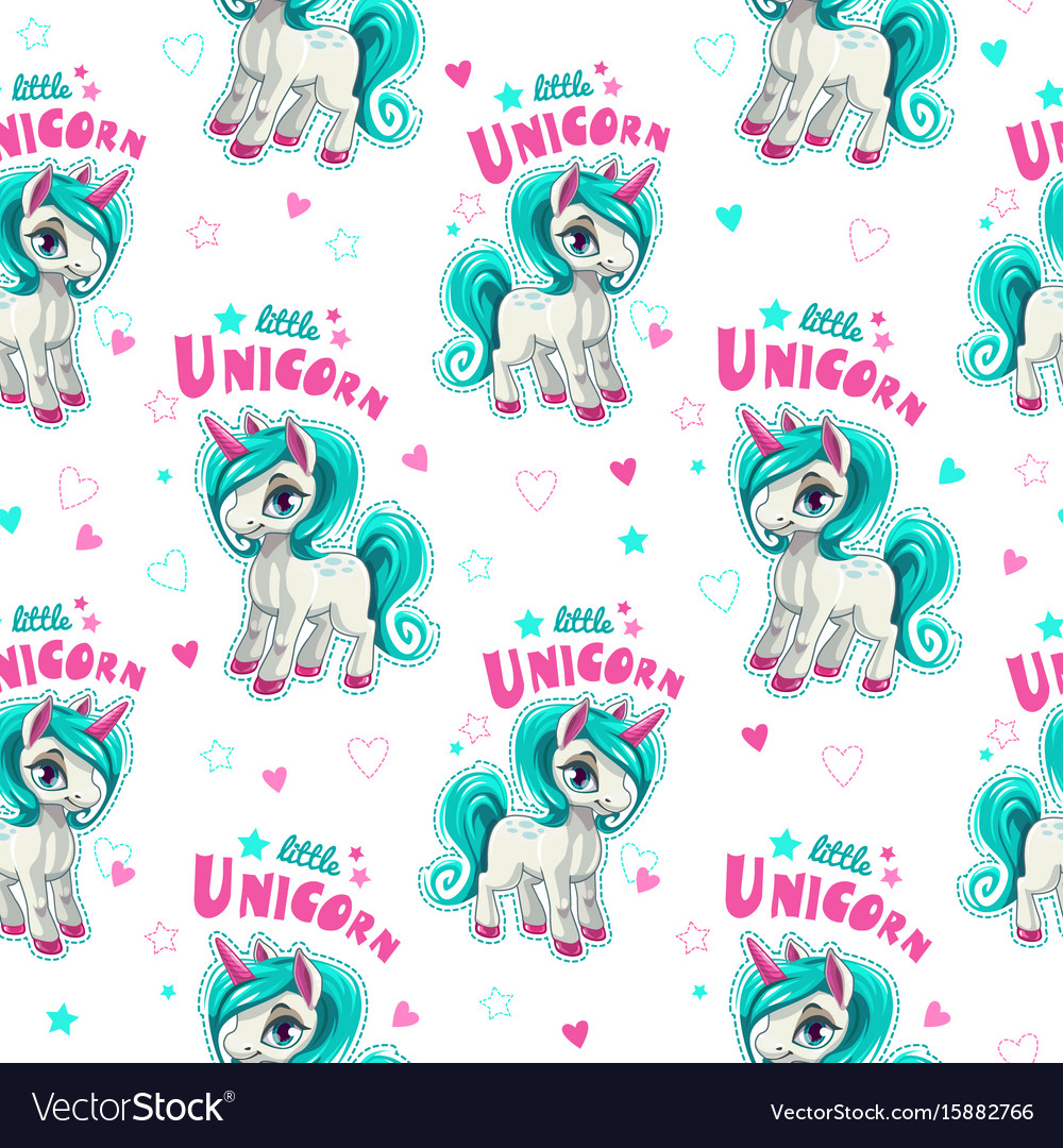 Cute seamless pattern with funny cartoon unicorns vector image