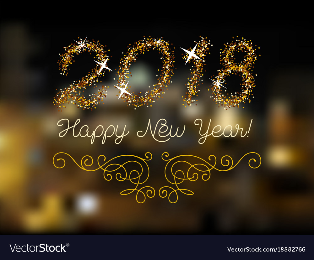 Glitter gold lettering happy new year invitation vector image glitter gold lettering happy new year invitation vector image stopboris