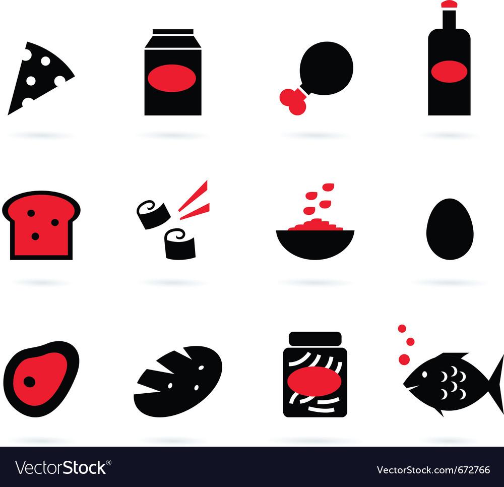 Retro food icons set isolated on white - black vector image