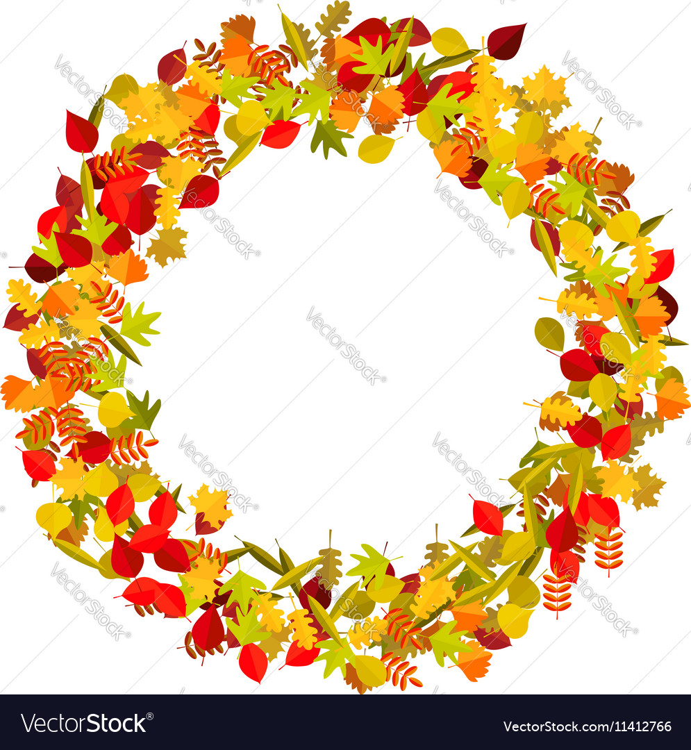 Wreath from yellow autumn leaves Design element vector image