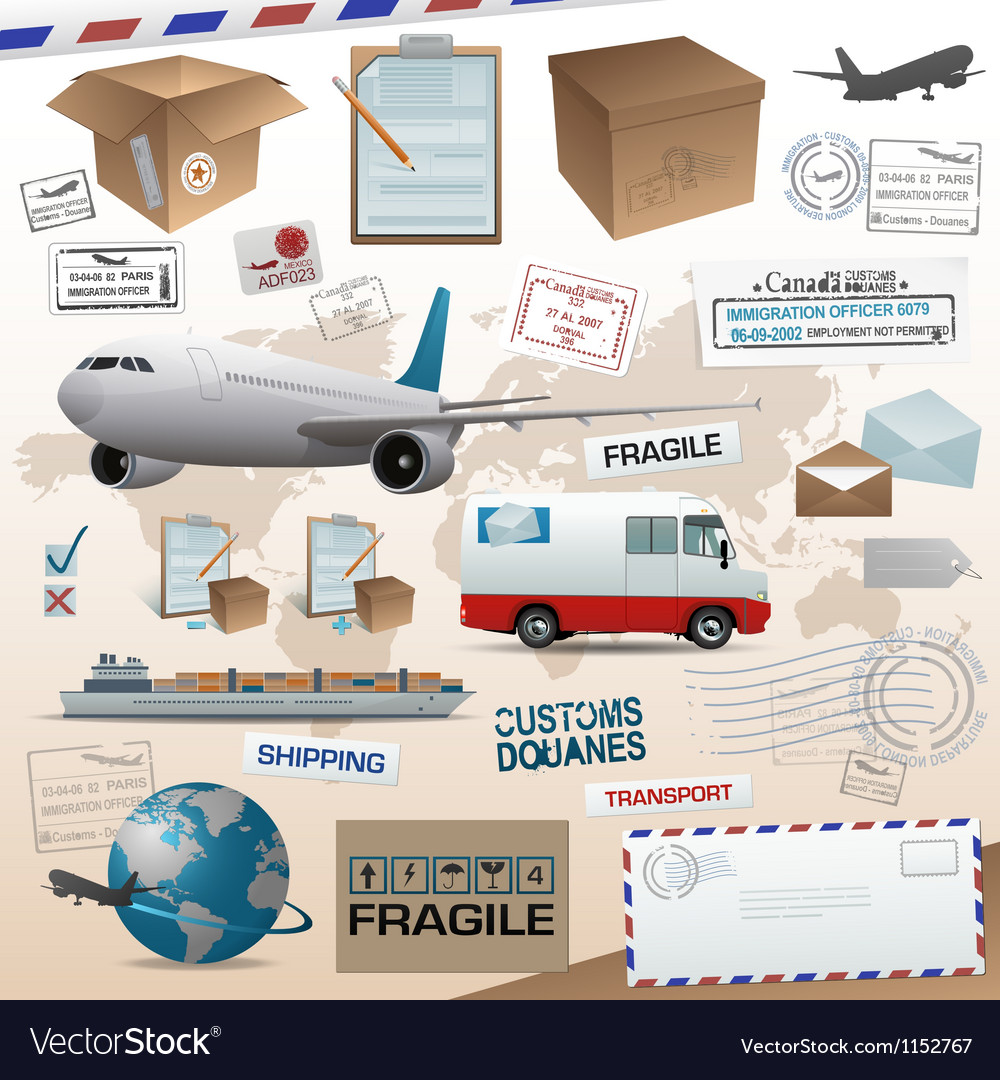 Distribution and shipping elements vector image