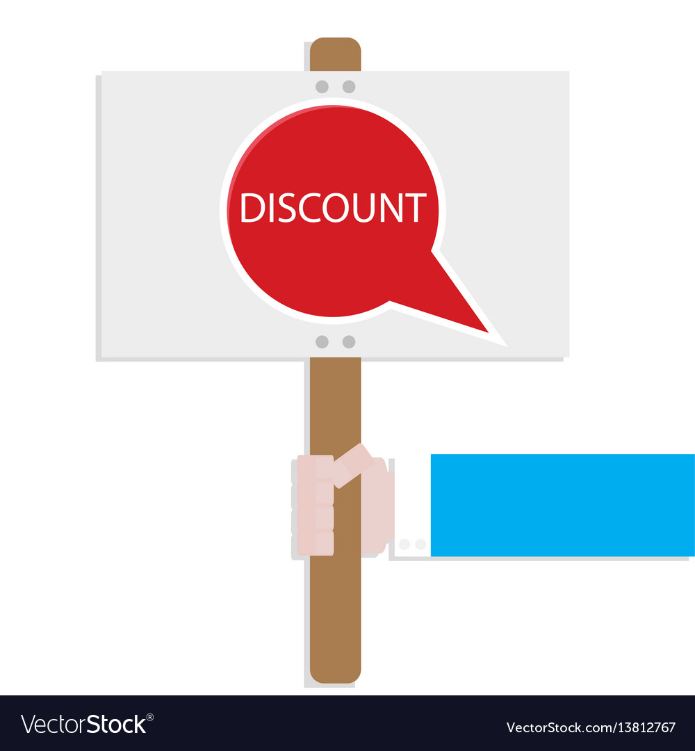 Hand hold promotion banner discount vector image