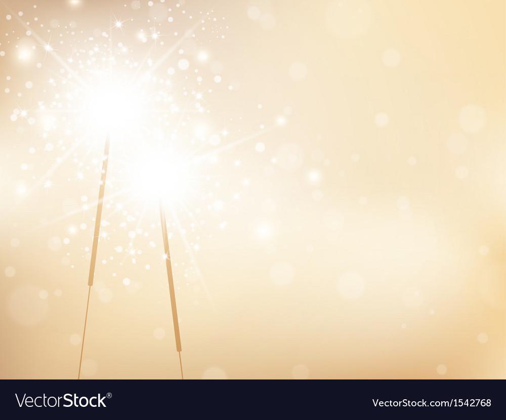 Sparklers Golden Background vector image