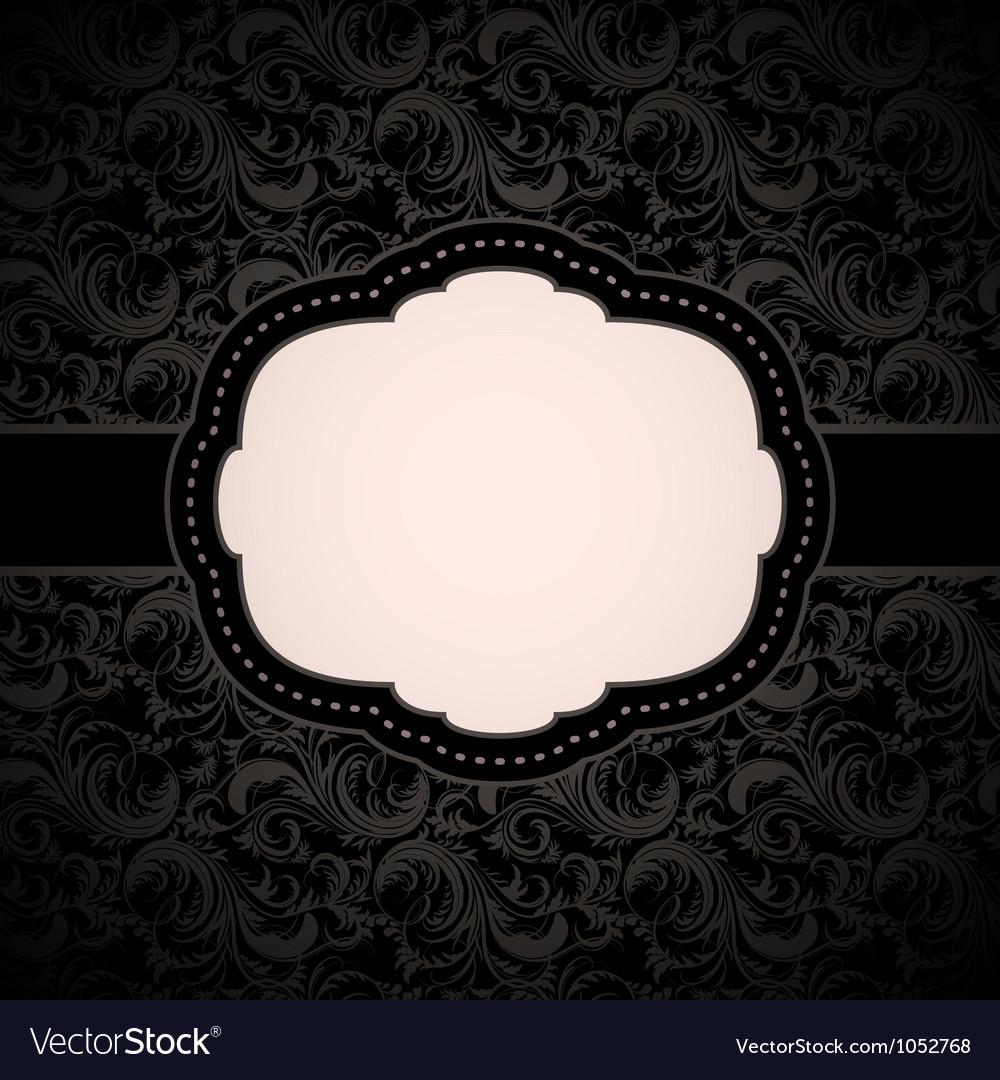 Black seamless floral pattern with vintage frame vector image