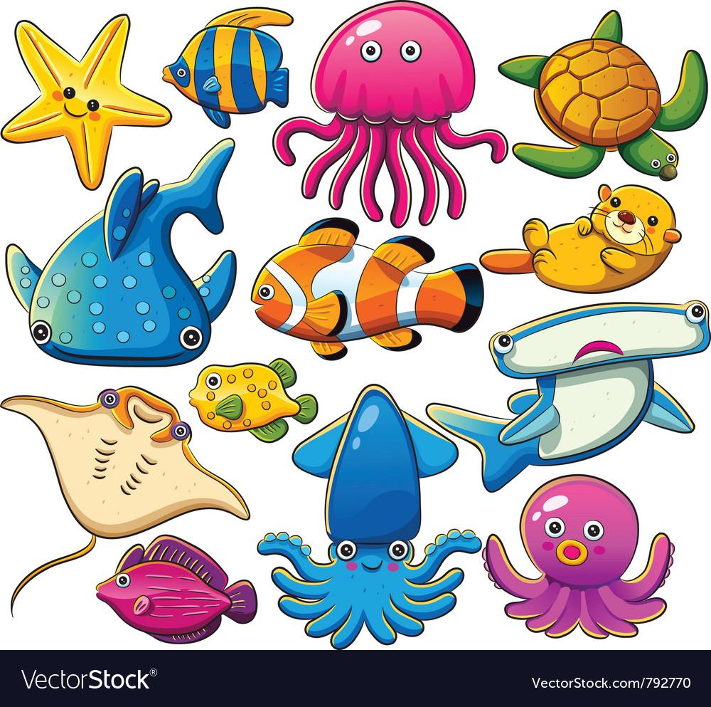 Sea animals collection vector image