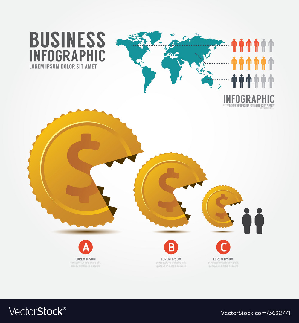 Infographics money and gold coin Business vector image