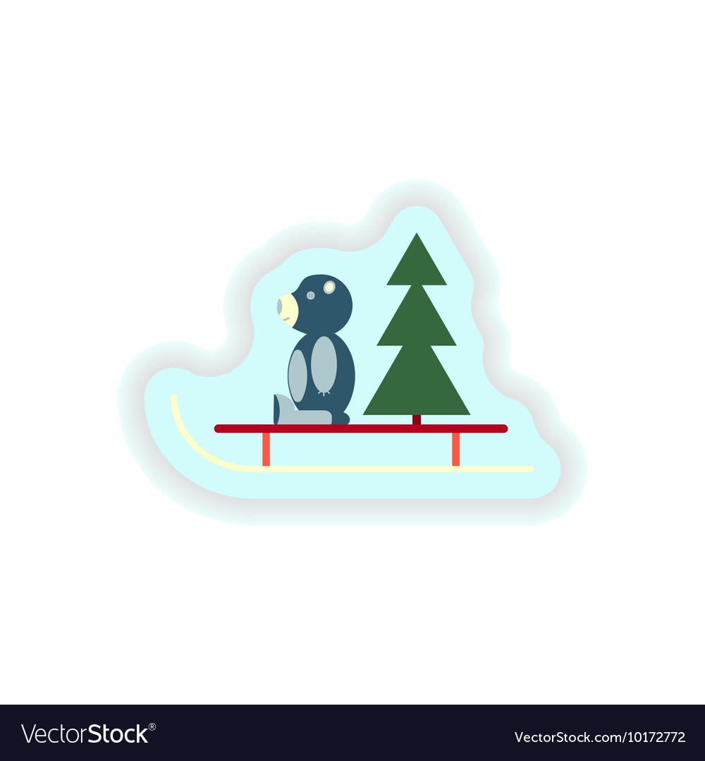 Stylish paper sticker on white background Bear toy