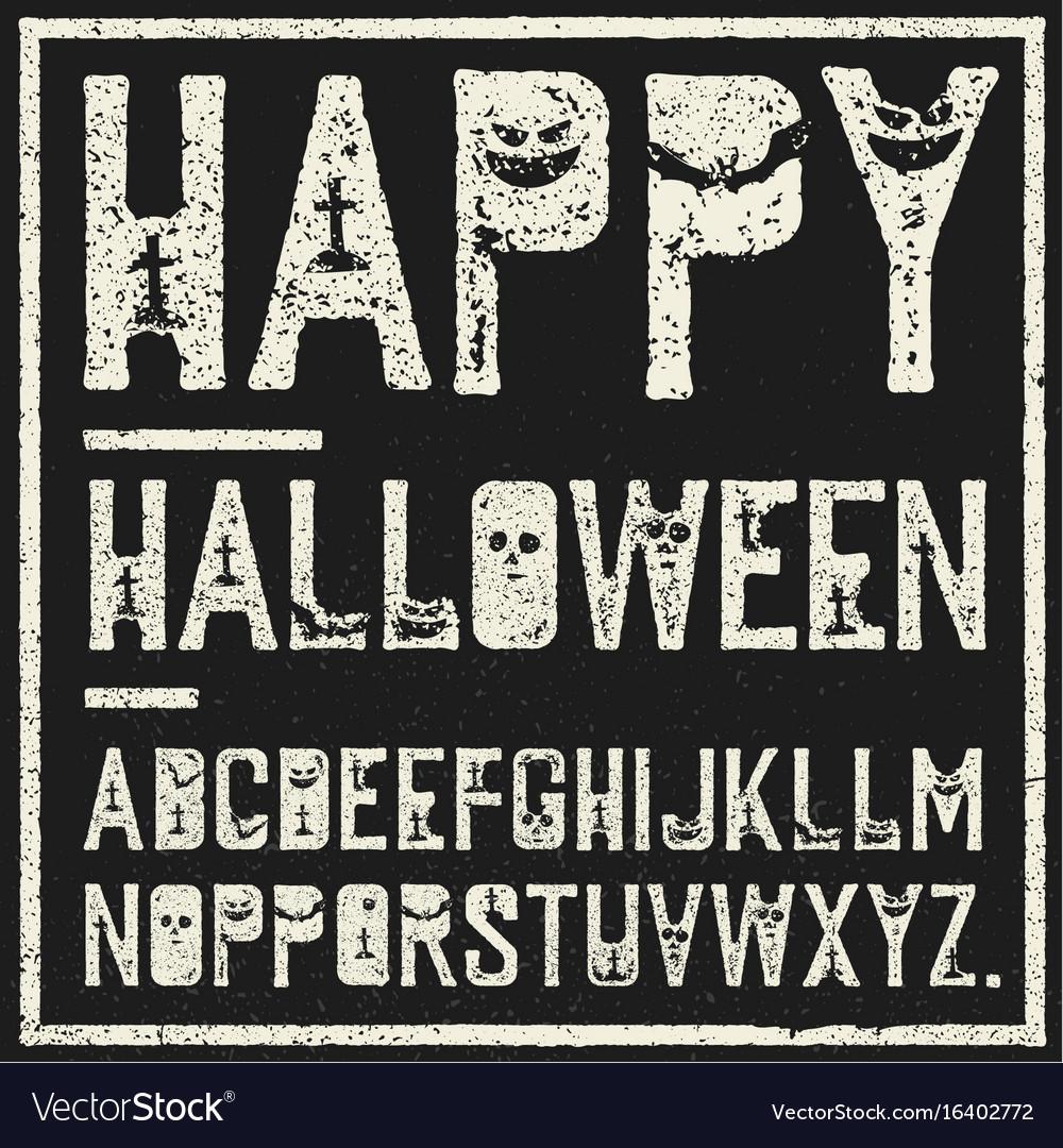 Happy halloween decorative alphabet grunge stamp vector image