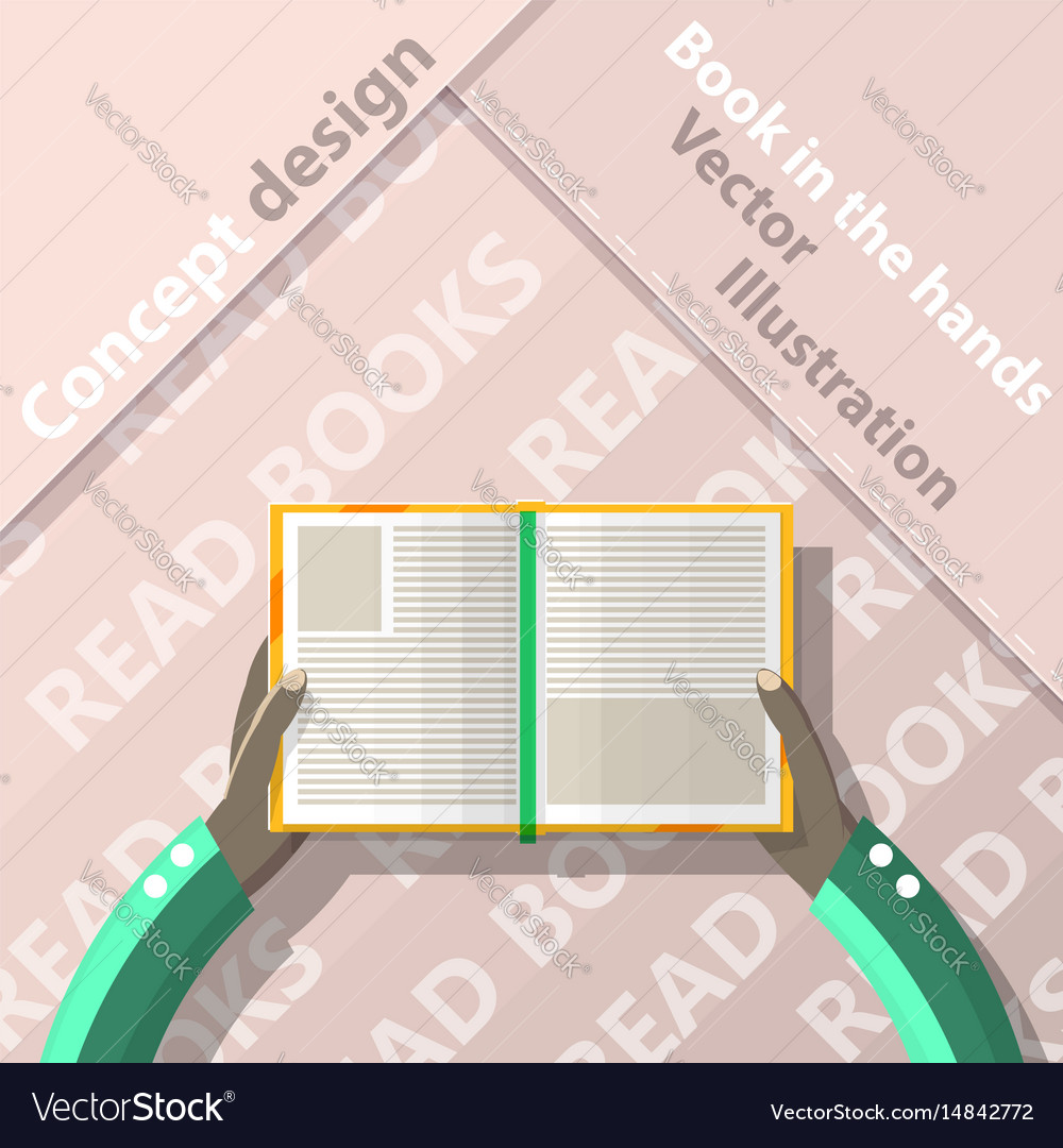 Read books open book in hands flat design vector image