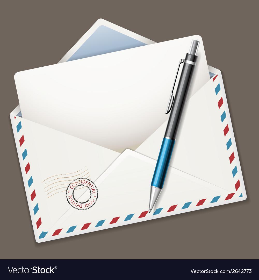 Envelope end pen vector image
