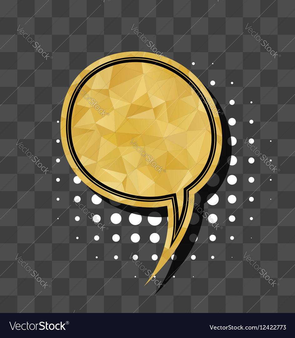 Gold sparkle comic text bubble vector image