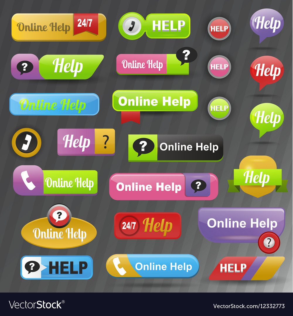 Online help buttons vector image