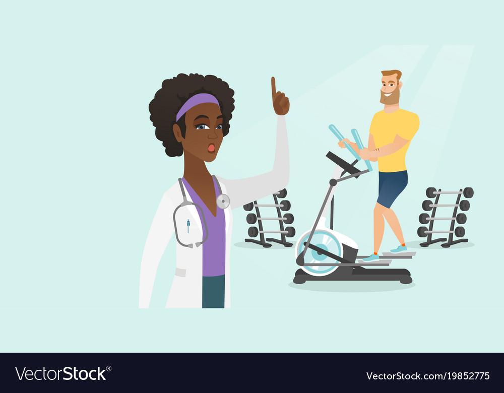 Caucasian man exercising on elliptical trainer vector image