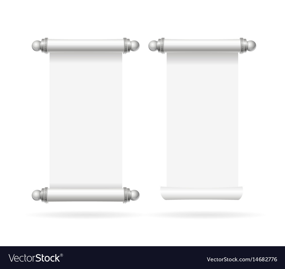 realistic template blank white paper scroll set vector image, Powerpoint templates