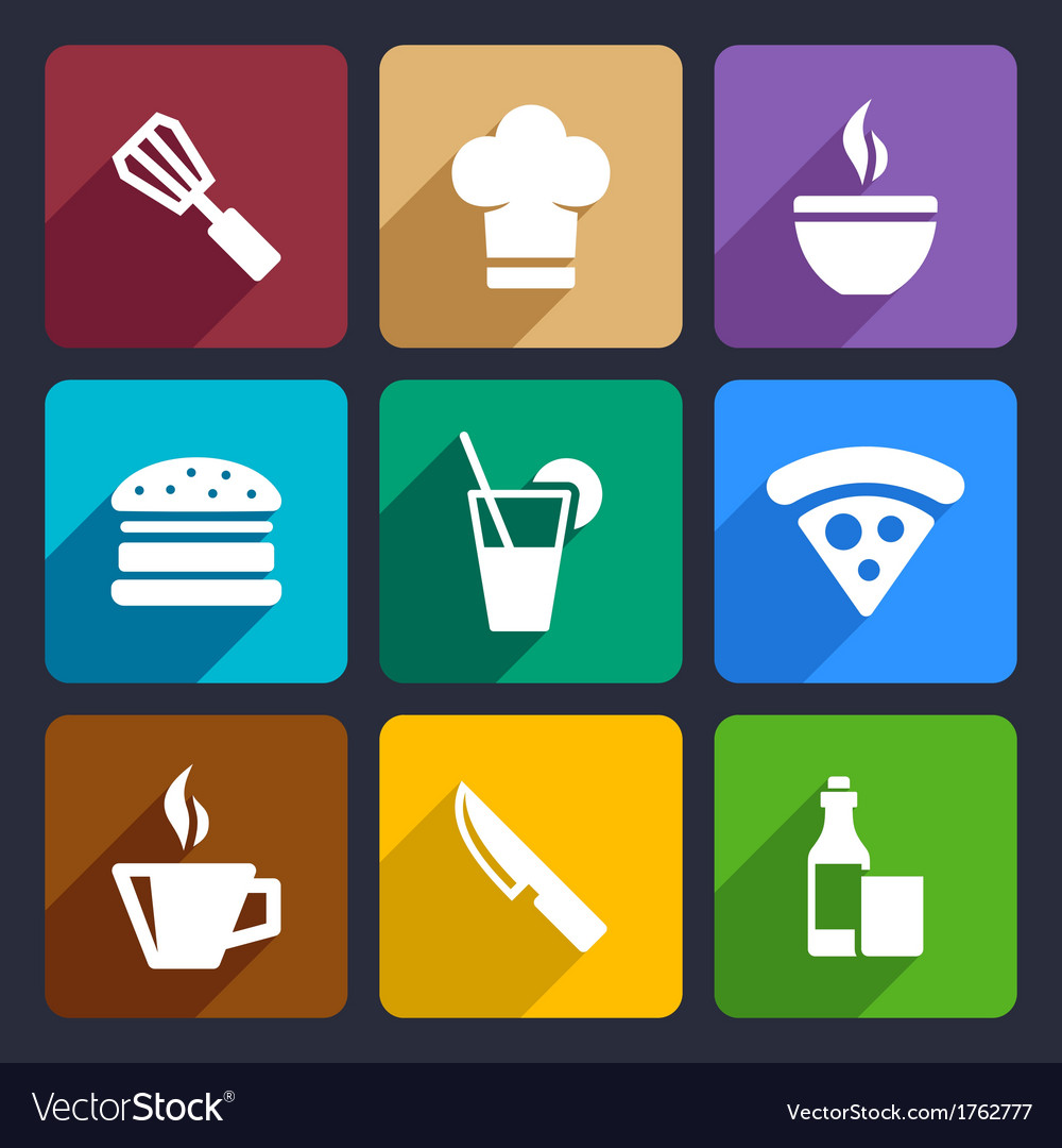 Kitchen flat icons set 23 vector image