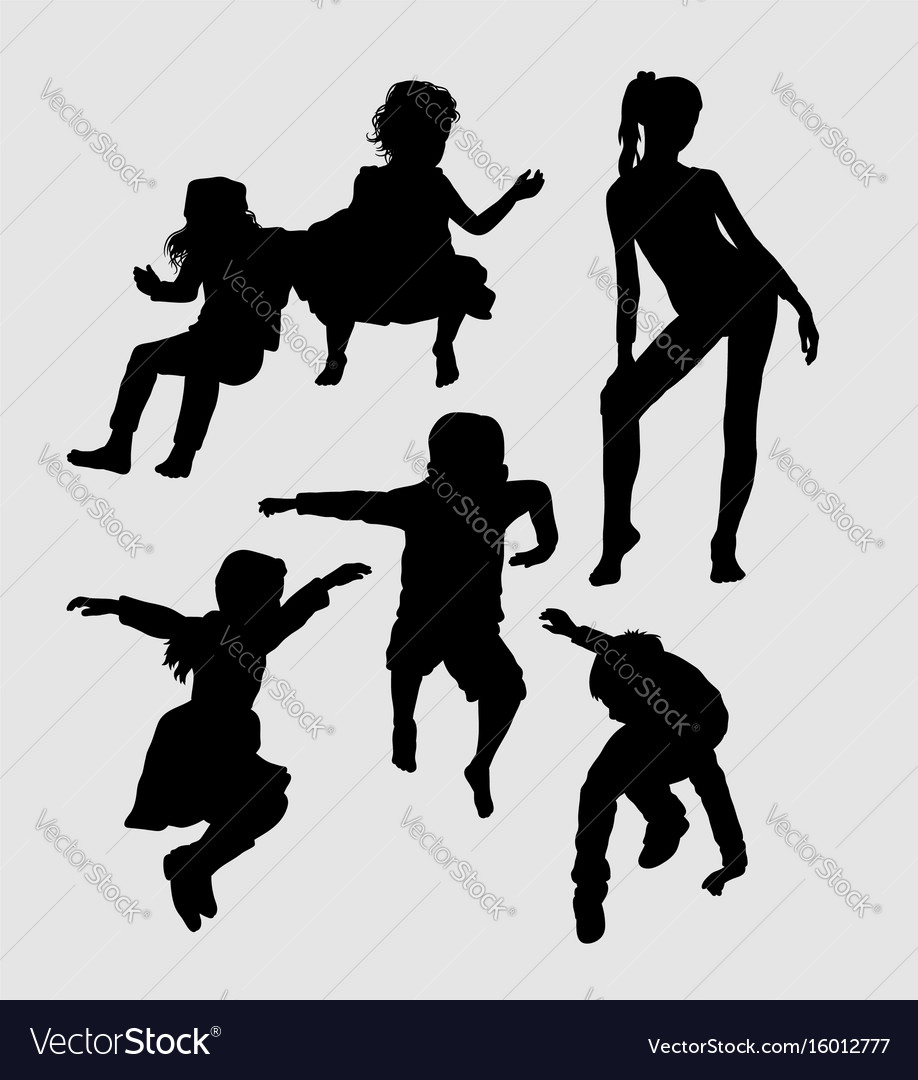 Male and female teenager silhouette vector image