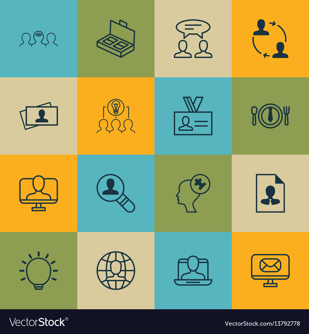 Set of 16 business management icons includes cv vector image