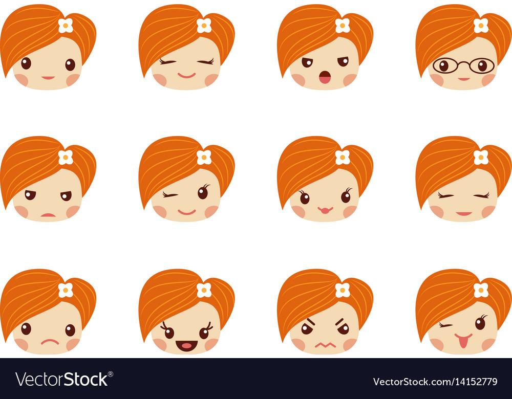 Emoji set of girls avatar collection vector image