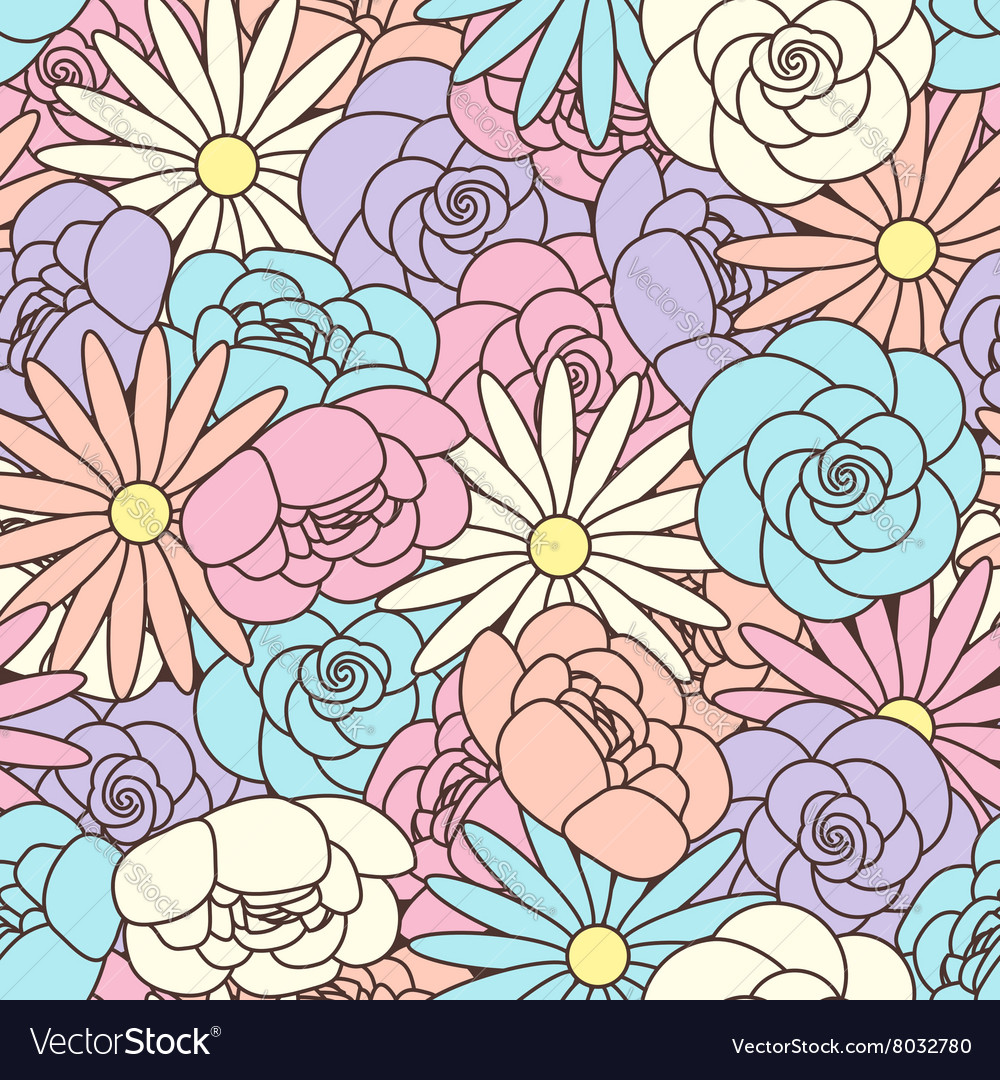 Abstract Seamless pattern with floral background vector image