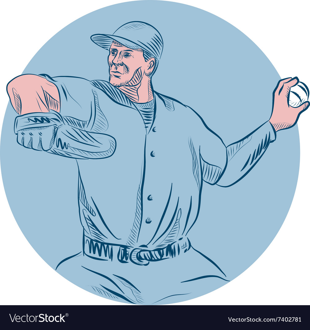 Baseball Pitcher Throwing Ball Circle Drawing vector image