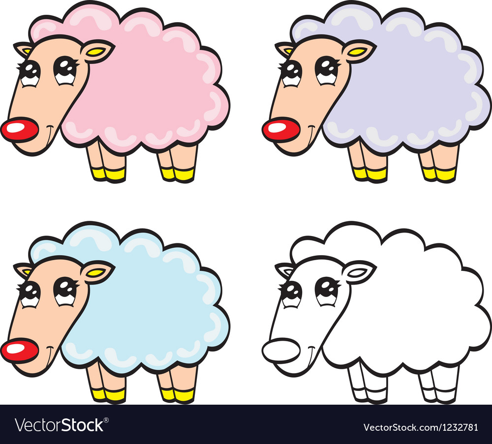 Cute cartoon baby sheep vector image