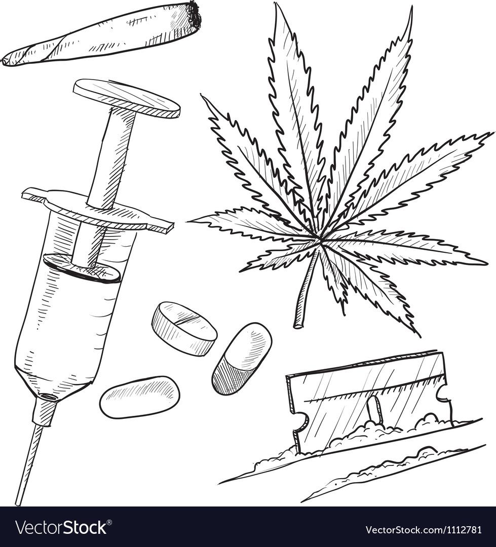 Doodle drugs pot joint pills needle coke vector image