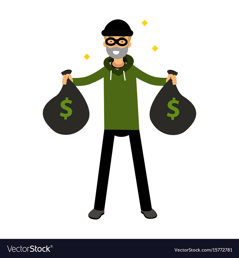 Robber character standing with two money bags vector image