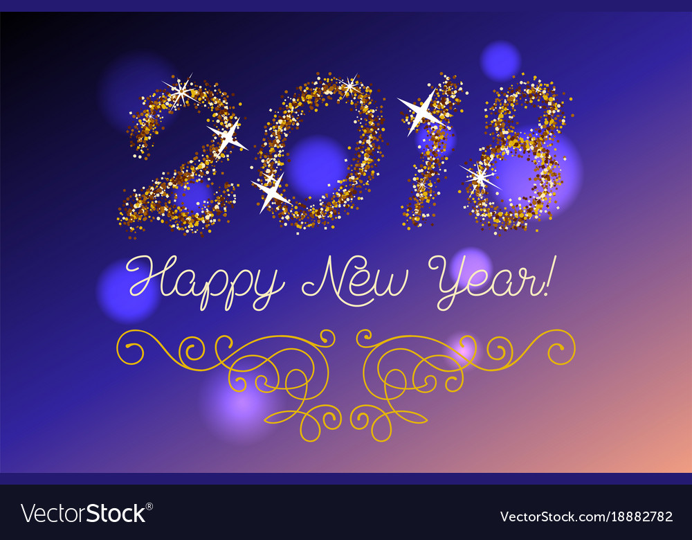 Glitter gold lettering happy new year invitation vector image glitter gold lettering happy new year invitation vector image stopboris Images