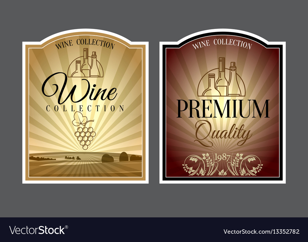 Set of labels for wine vector image