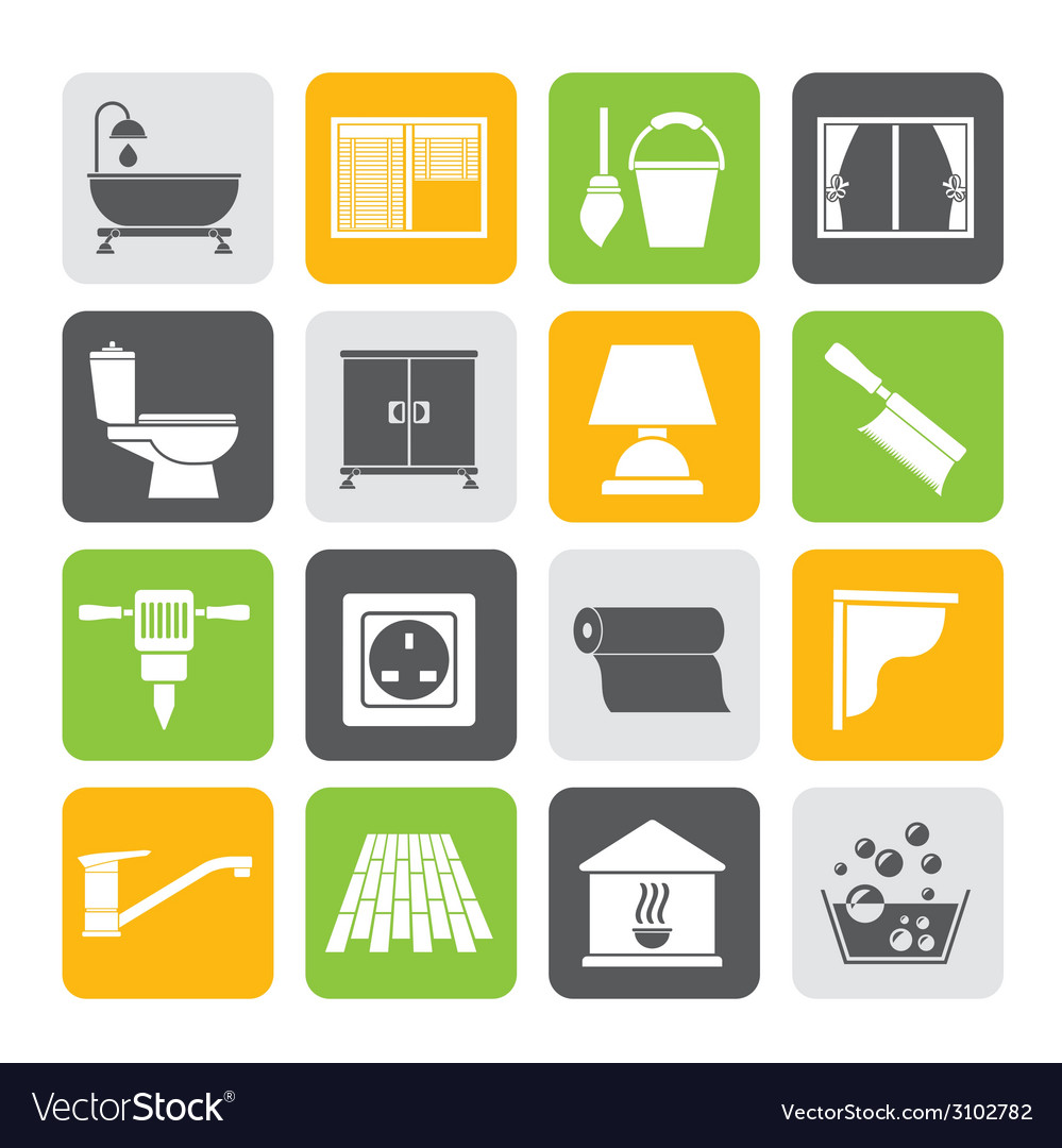 Silhouette Construction and building equipment vector image