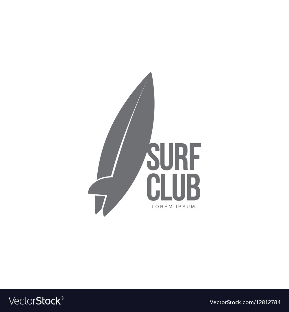 Black white surfing logo template with surfboard Vector Image