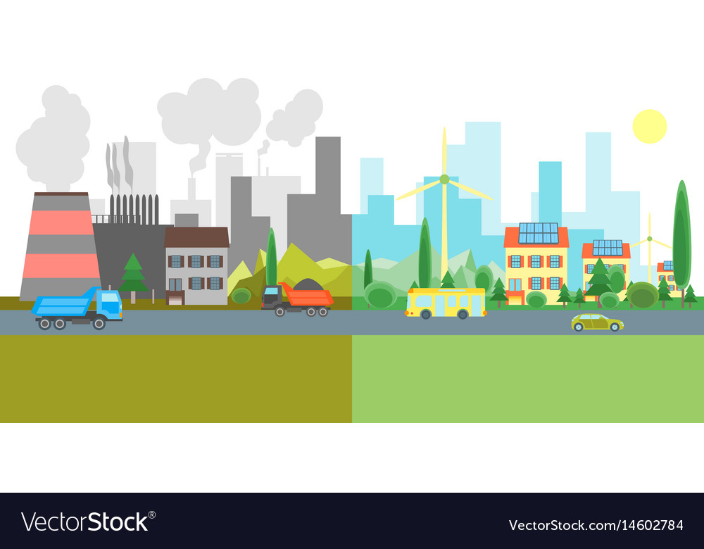 Cartoon city landscape geen and pollution vector image