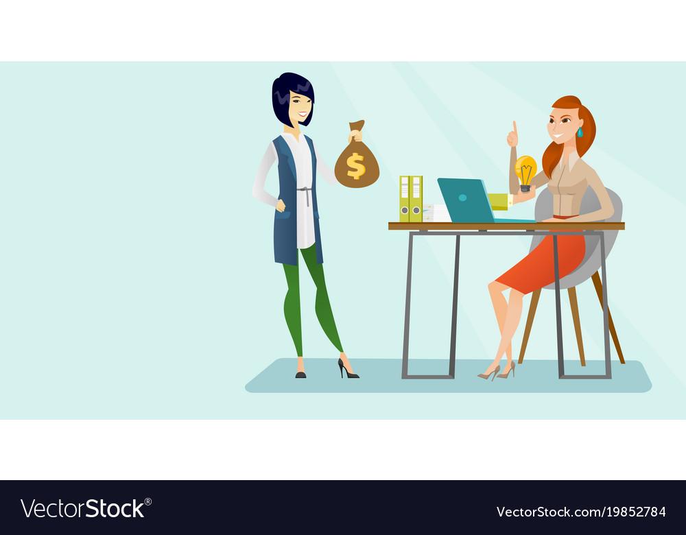 Caucasian business woman having creative idea vector image
