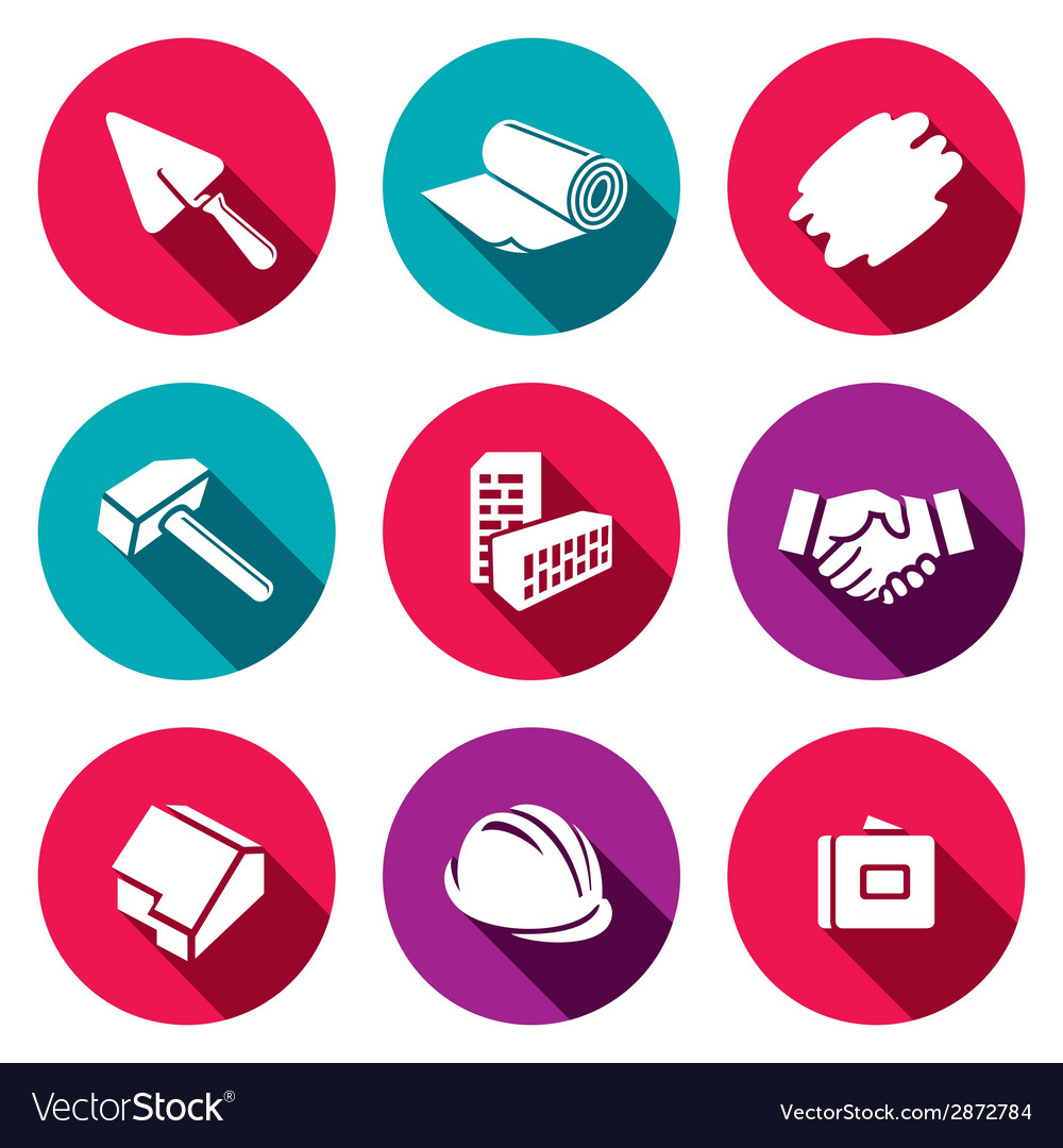 Construction and home repair flat icons set vector image
