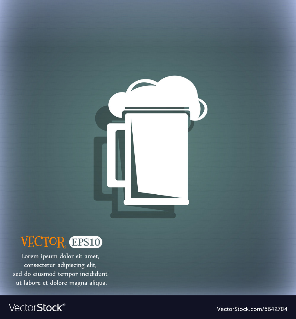 Glass of beer icon symbol on the blue-green vector image