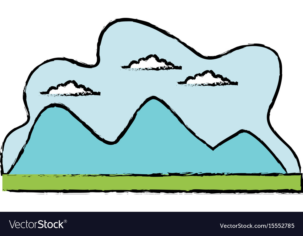 Cartoon mountain meadow cloud landscape vector image