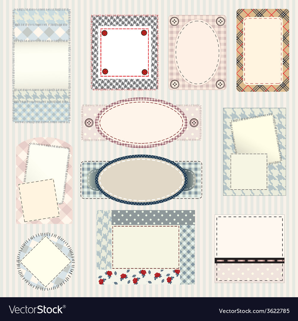 Set of labels quilting design vector image