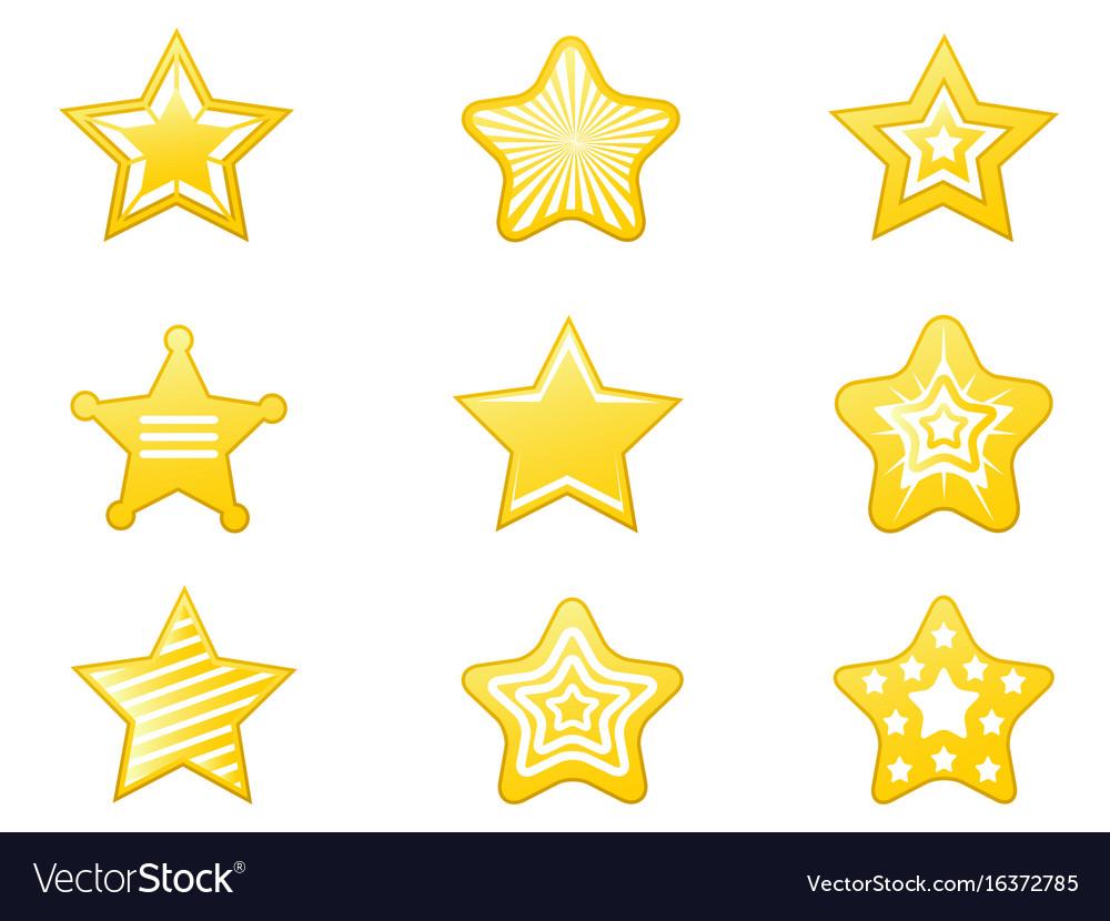 Shiny star icons set vector image
