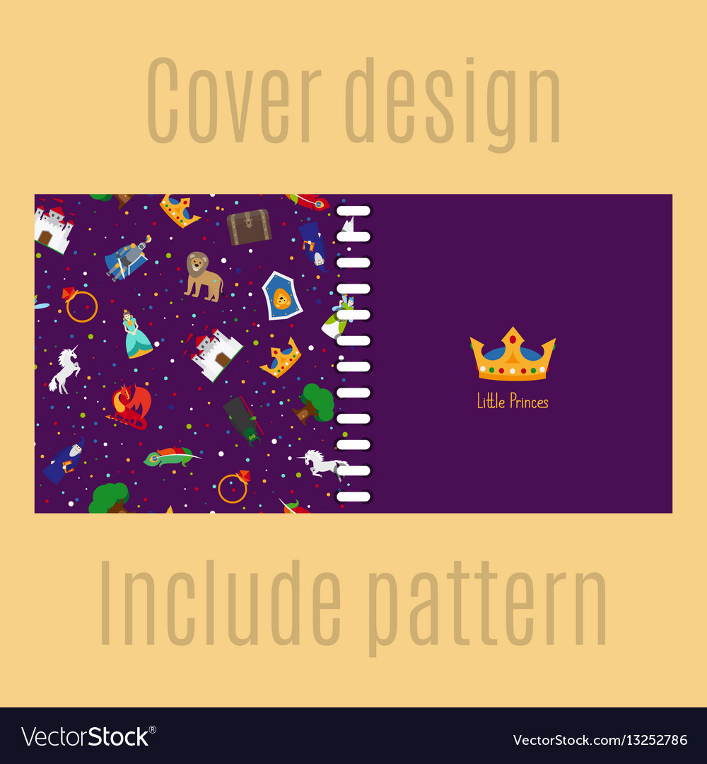 Cover design with princess pattern vector image