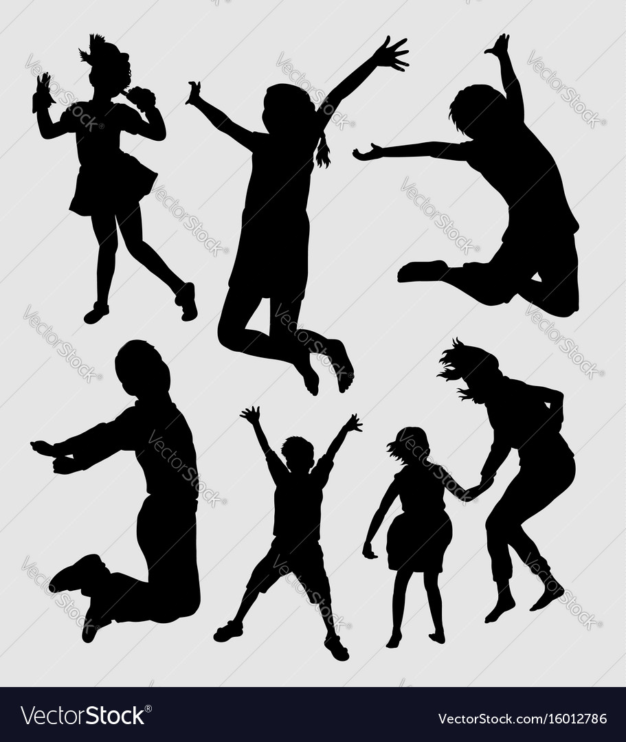 Happy kids playing silhouette vector image