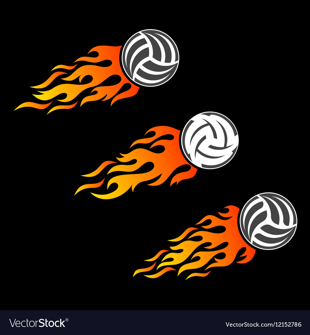 Volleyball ball flaming logo designs vector image