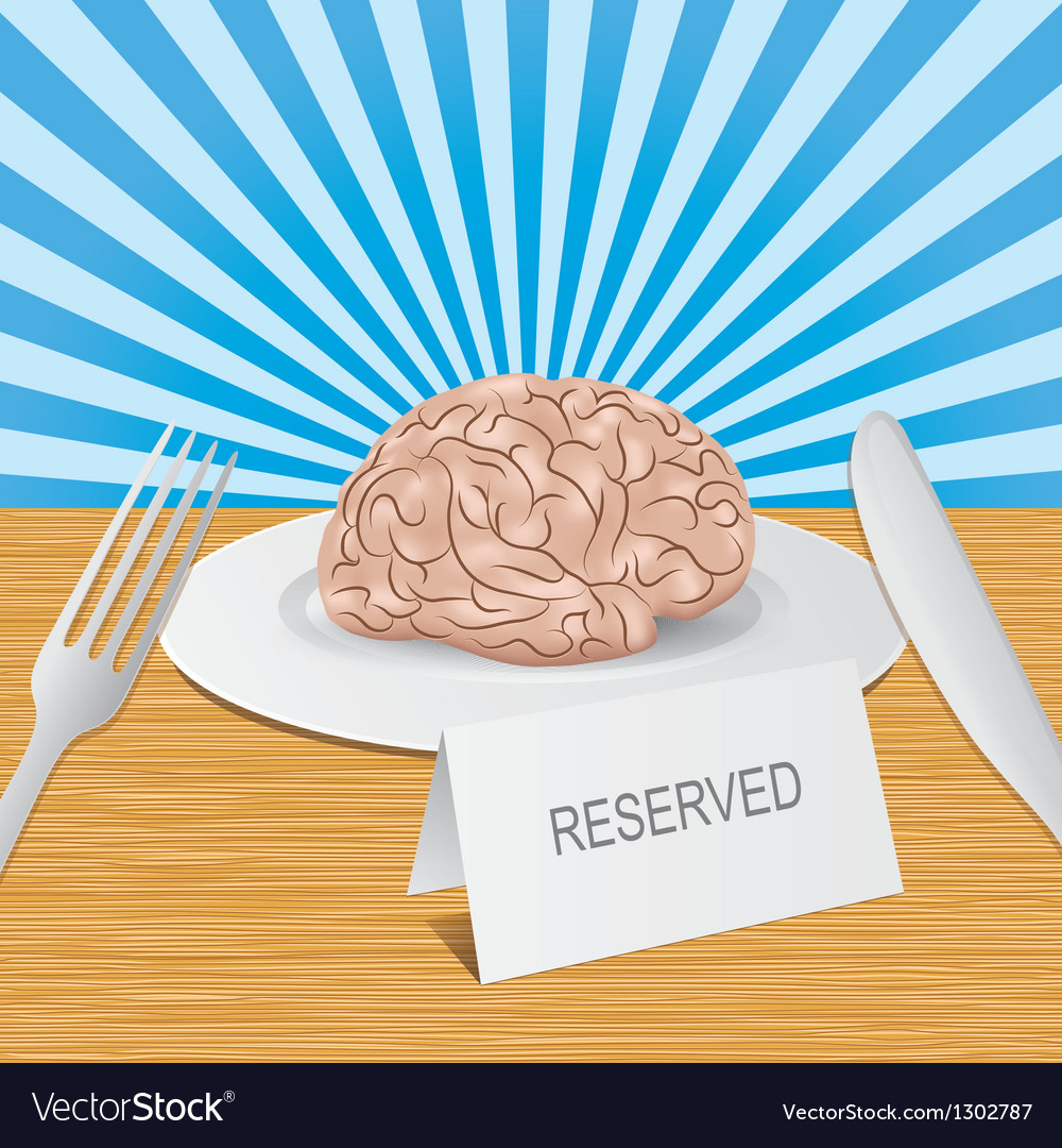 Reserved brain lies on plate Healthy brain Vector Image