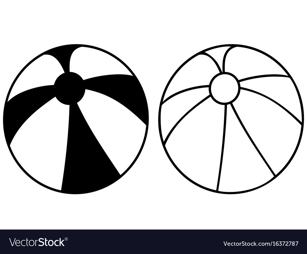 Simple black beach ball icon vector image