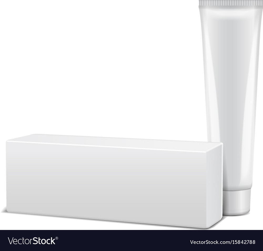 Blank plastic tube with white box for medicine or vector image