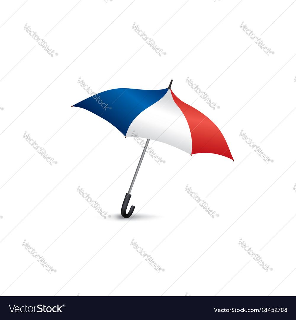 French flag colored umbrella travel france sign vector image