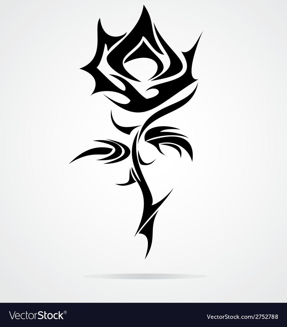 rose flower tattoo design royalty free vector image. Black Bedroom Furniture Sets. Home Design Ideas